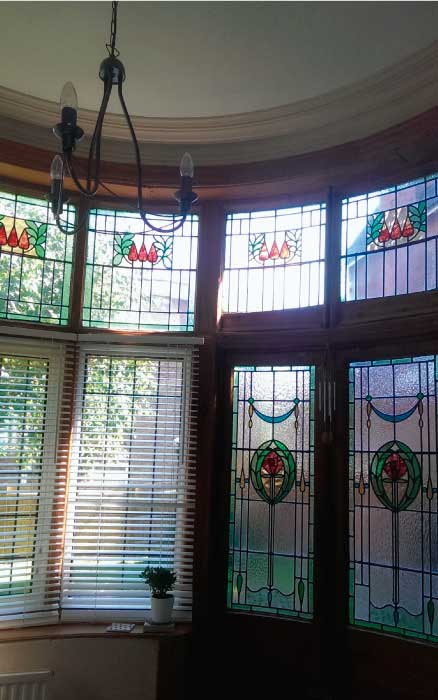 E26 EDWARDIAN STAINED GLASS