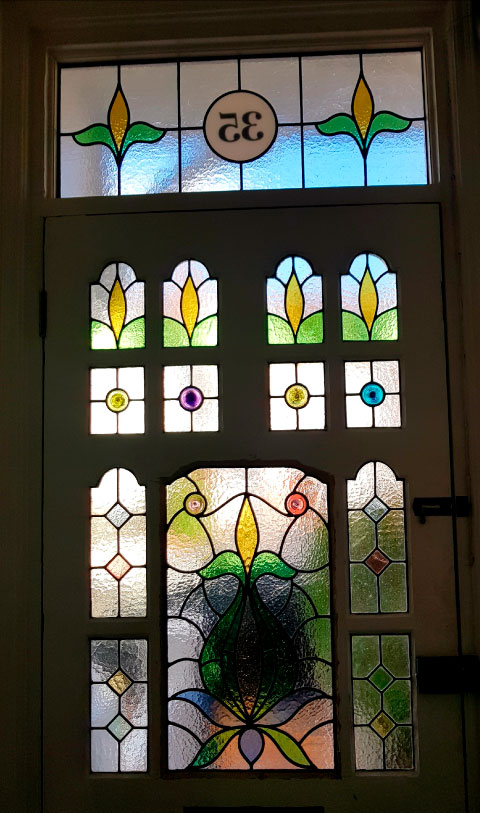 E34 EDWARDIAN STAINED GLASS