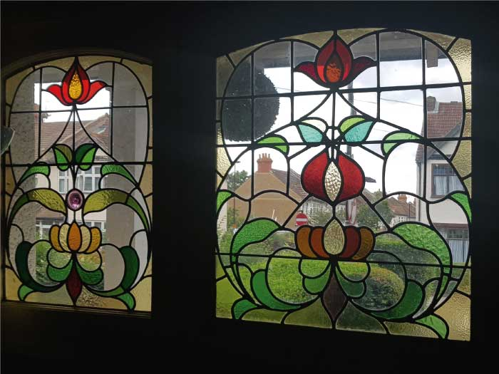 E46 EDWARDIAN STAINED GLASS